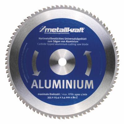 Fűrésztárcsa alumíniumhoz 355 x 2,4 x 25,4 mm z80 (MTS 356-hoz) Metallkraft: 3853502