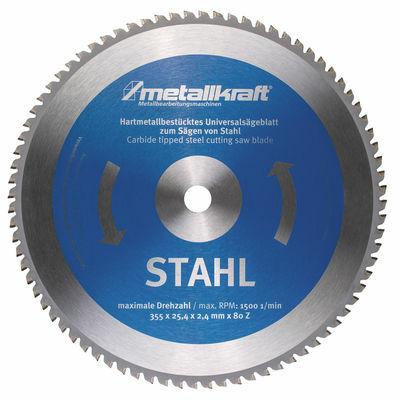 Fűrésztárcsa acélhoz O 355 x 2,4 x 25,4 mm z80 (MTS 356-hoz) Metallkraft: 3853504