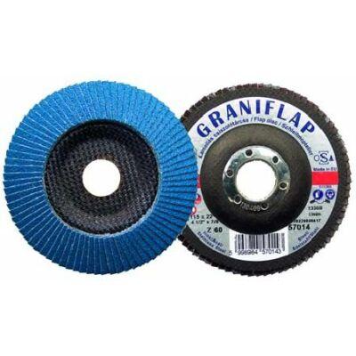 Lamellás csiszolótárcsa cirkon (kúpos)   Graniflap 115x22 Z40: GRANIT 57013
