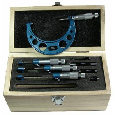 Precíziós mikrométer készlet keményfém mérőfelülettel  4 részes 0-100mm MIB: 01017065