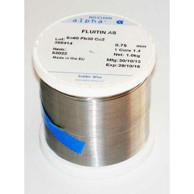 Forrasztó ón Fluitin: 0,75mm/1kg Sn60Pb38Cu2 1532 AS/114: 53022
