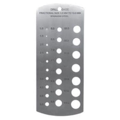 Csigafúró mérősablon 1-13mm 0,5mm-es emelkedés MIB 78082009